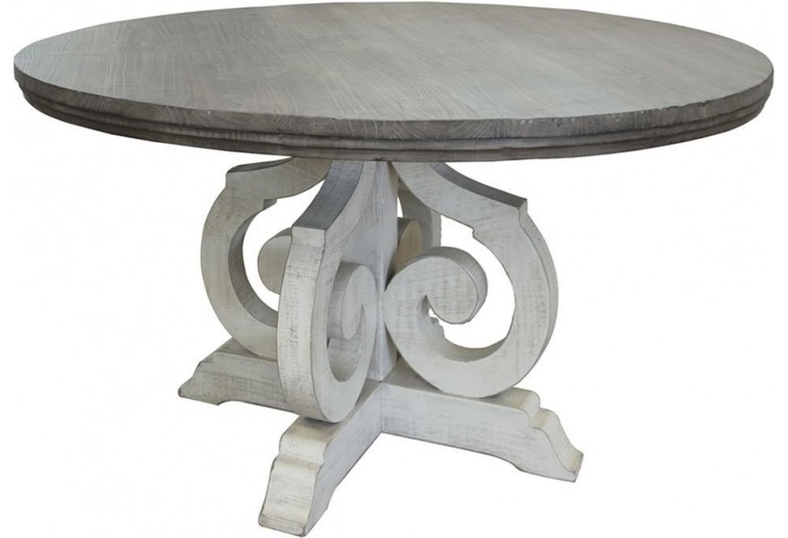International Furniture Direct Stone Relaxed Vintage Two Toned Solid Wood Round Table Furniture Superstore Rochester Mn Dining Tables