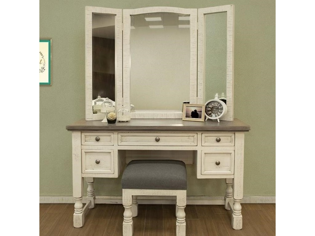 International Furniture Direct StoneVanity, Mirror, and Stool Set
