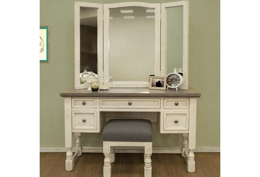 International Furniture Direct Stone Relaxed Vintage Vanity Mirror And Stool Set Furniture Superstore Rochester Mn Vanities Vanity Sets