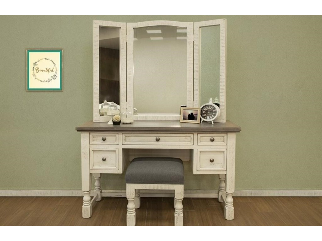 International Furniture Direct StoneVanity Mirror