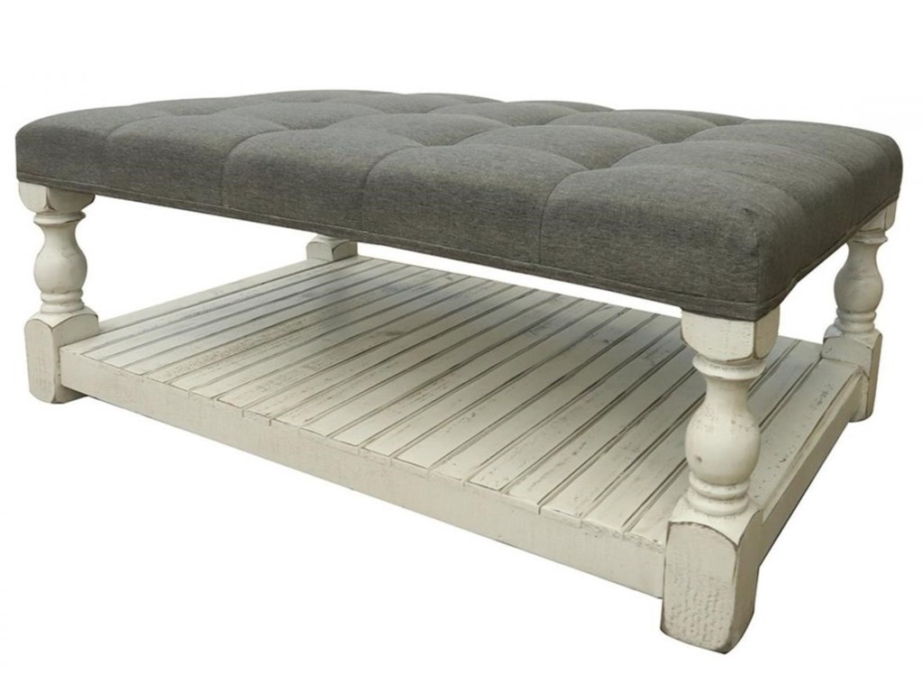 International Furniture Direct StoneUpholstered Cocktail Ottoman Table