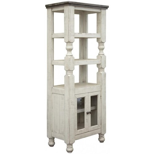 International Furniture Direct Stone Relaxed Vintage Bookcase with Glass Doors