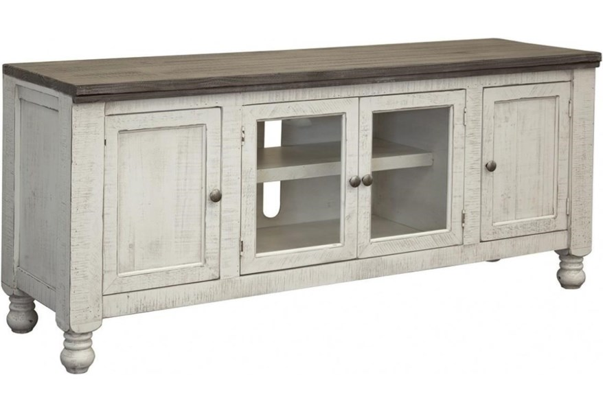 new arrivals f4181 184e3 Stone Relaxed Vintage TV Stand with 2 Doors by VFM Signature at Virginia  Furniture Market