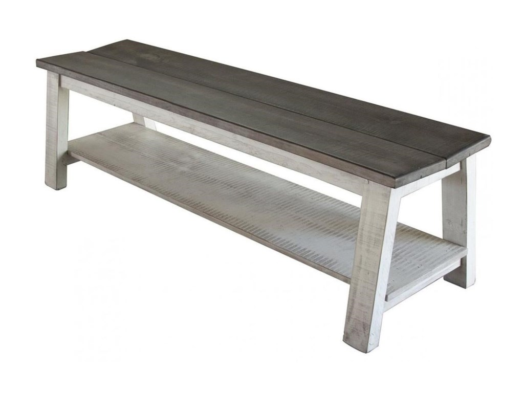 International furniture direct stone relaxed vintage solid wood bench with shelf zaks fine furniture dining benches