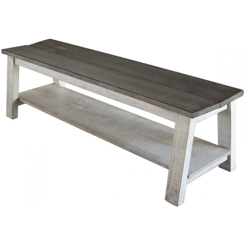 International Furniture Direct Stone Transitional Solid Wood Breakfast Bench with Shelf