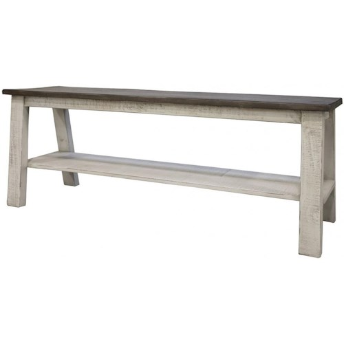 International Furniture Direct Stone Transitional Solid Wood Counter Height Breakfast Bench with Shelf