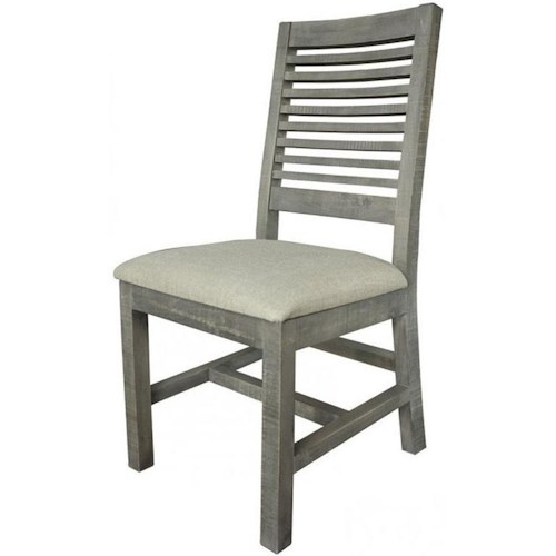 International Furniture Direct Stone Relaxed Vintage Solid Wood Ladder Back Side Chair