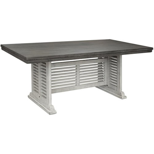 International Furniture Direct Stone Transitional Solid Wood Counter Height Table