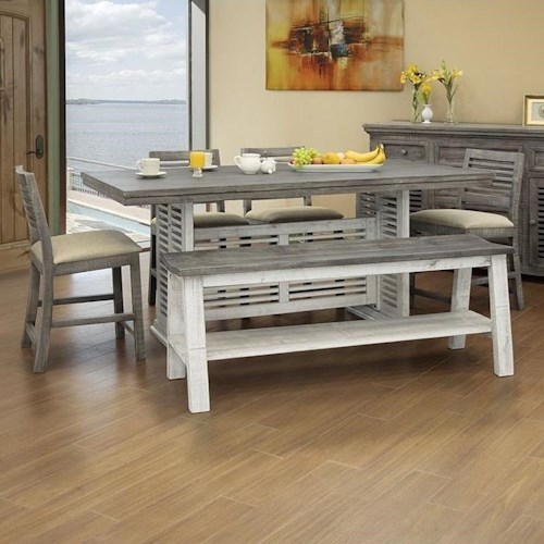 International Furniture Direct Stone Solid Wood 6 Piece Counter Height Table and Chair Set