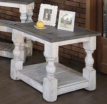 International Furniture Direct Stone Transitional Solid Wood End Table