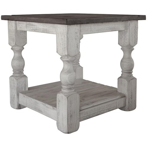 International Furniture Direct Stone Relaxed Vintage Solid Wood End Table
