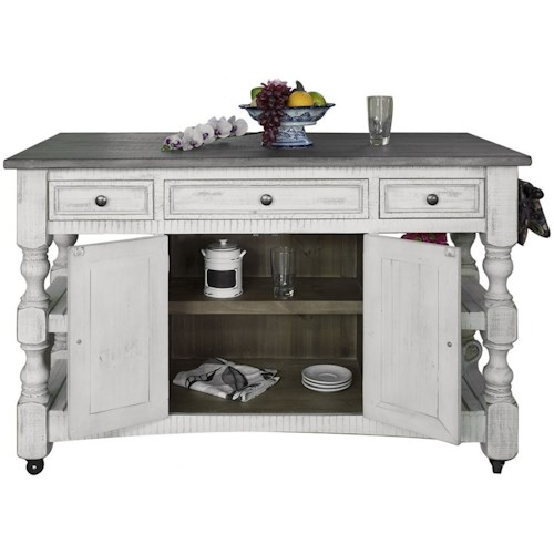 International Furniture Direct Stone Relaxed Vintage Kitchen Island with Shelves