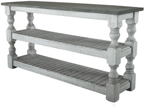 International Furniture Direct Stone Transitional Solid Wood Sofa Table with 2 Shelves