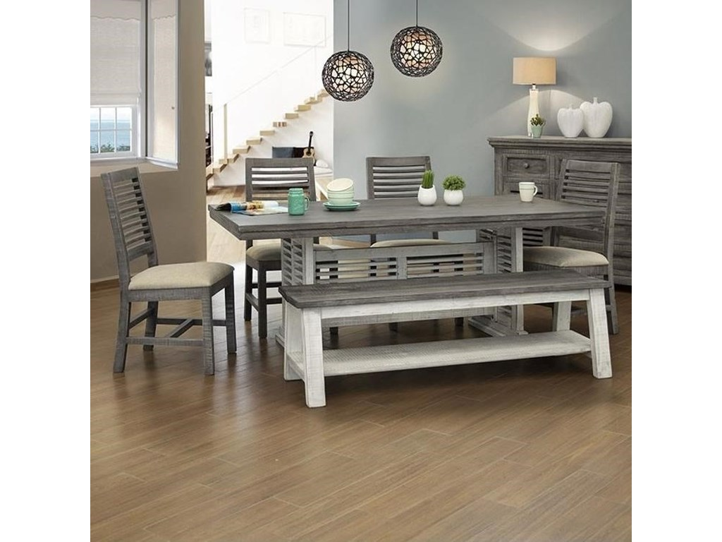 International Furniture Direct Stone Solid Wood Table And Chair Set
