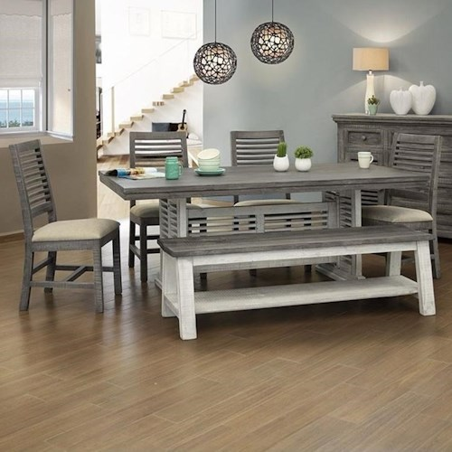 International Furniture Direct Stone Solid Wood Table And Chair Set With Dining Bench