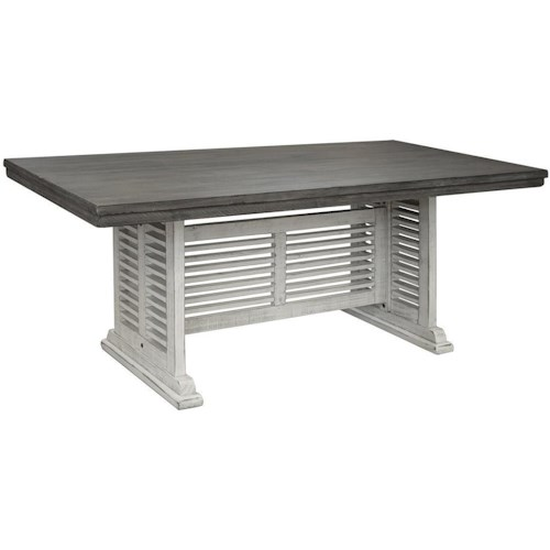 International Furniture Direct Stone Transitional Solid Wood Dining Table