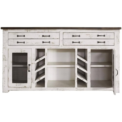 International Furniture Direct Xalapa Rustic Solid Wood 4 Drawer and 2 Door Console with Wine Bottle Storage