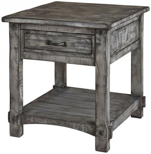 International Furniture Direct 670 Antigua Gray 1 Drawer End Table