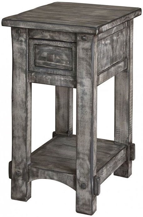 International Furniture Direct 670 Antigua Gray Chairside Table with Single Drawer