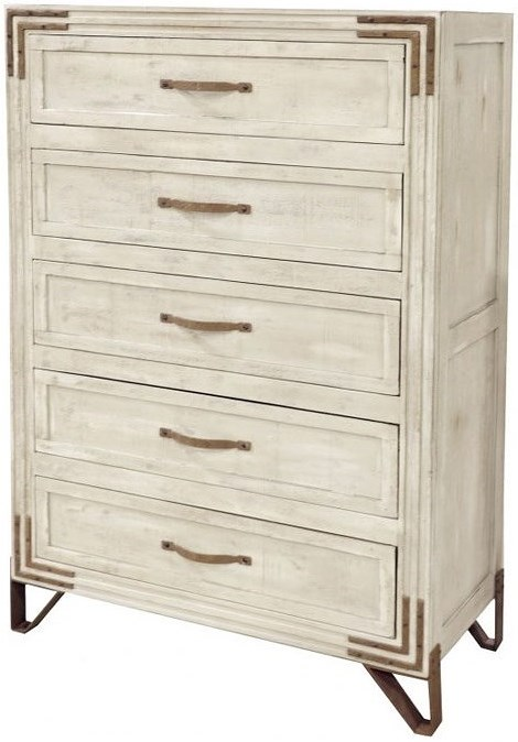 International Furniture Direct Camelia 5 Drawer Chest with Wrought Iron Feet and Detail