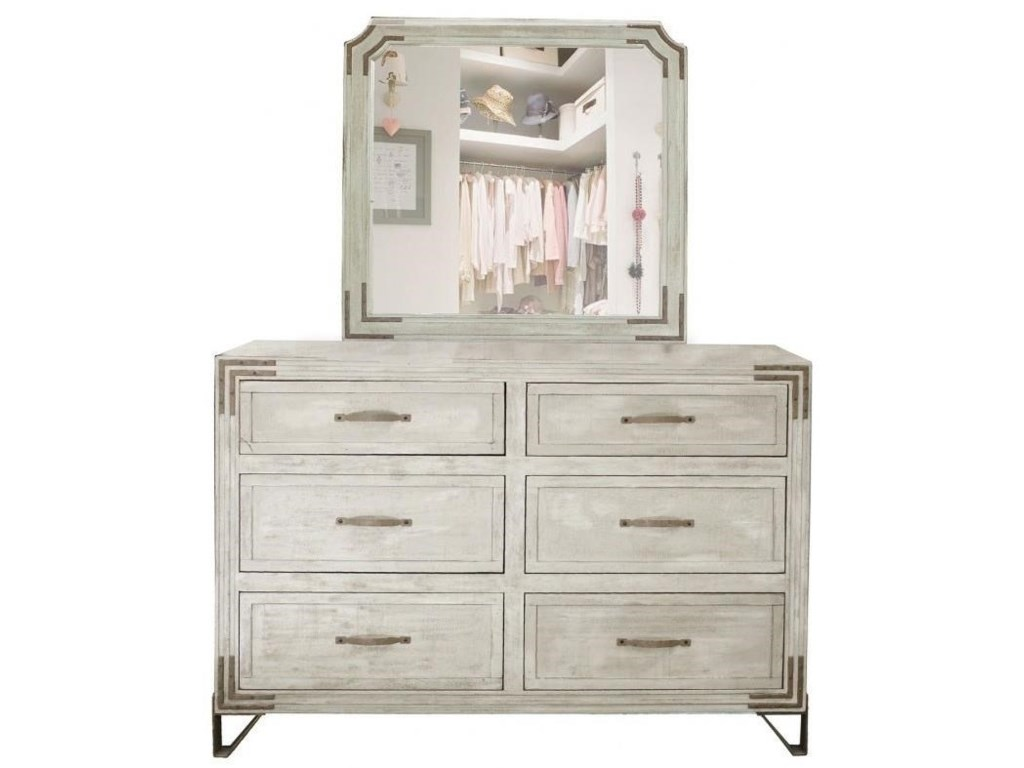 International Furniture Direct Camelia6 Drawer Dresser Mirror Combo