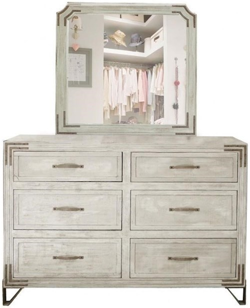 International Furniture Direct Camelia 6 Drawer Dresser Mirror Combo with Wrought Iron Detail