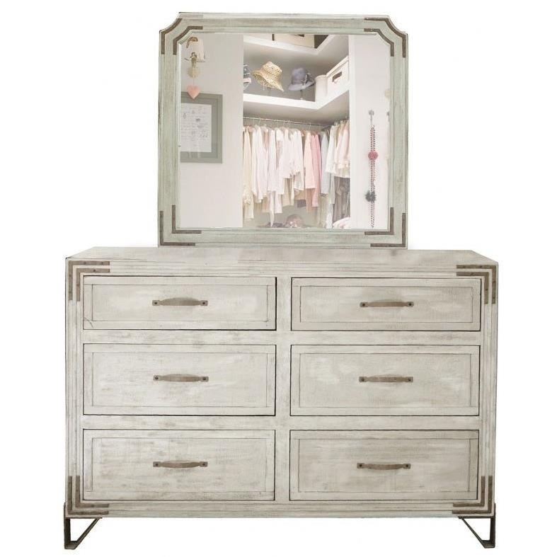 Camelia 6 Drawer Dresser Mirror Combo With Wrought Iron Detail By  International Furniture Direct