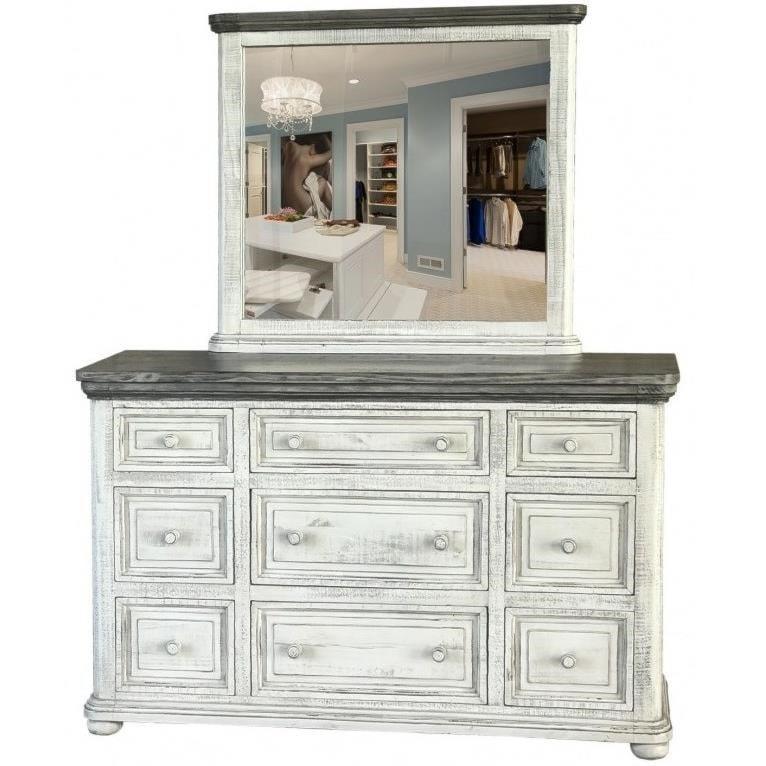 International Furniture Direct 768 LunaDresser and Mirror