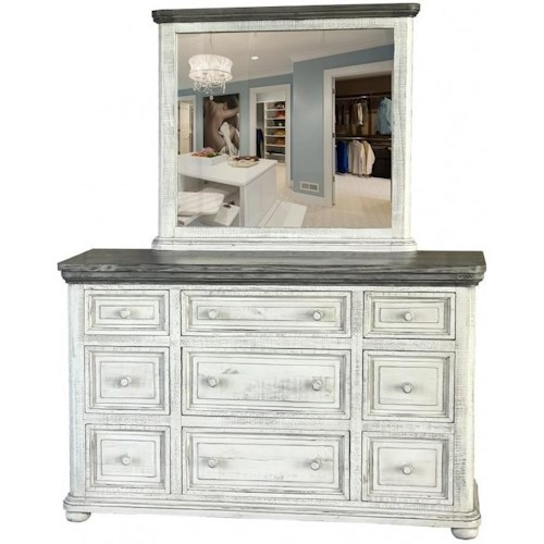 International Furniture Direct 768 Luna Transitional Solid Wood 9 Drawer Dresser and Mirror