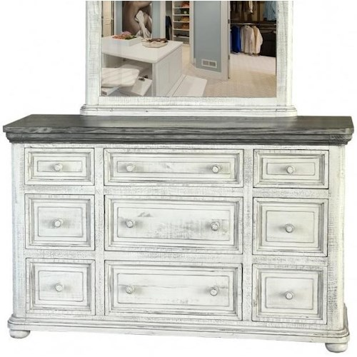 International Furniture Direct 768 Luna Transitional Solid Wood 9 Drawer Dresser with Microfiber Lined Top Drawers