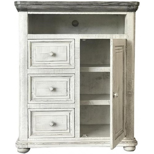 International Furniture Direct 768 Luna Transitional Solid Wood 3 Drawer And 1 Door Chest with Cord Management Hole