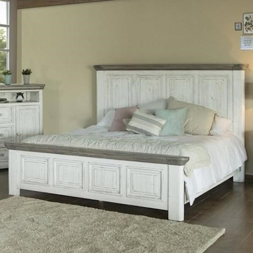 International Furniture Direct 768 Luna Transitional Solid Wood California King Panel Bed