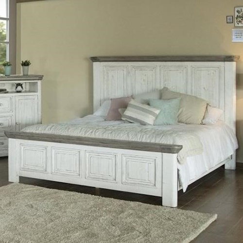 International Furniture Direct 768 Luna Transitional Solid Wood Queen Panel Bed