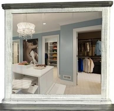 International Furniture Direct 768 Luna Transitional Dresser Mirror with Solid Wood Frame