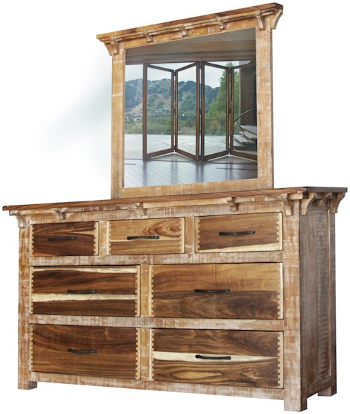 International Furniture Direct Casablanca Dresser and Mirror with Seven Drawers