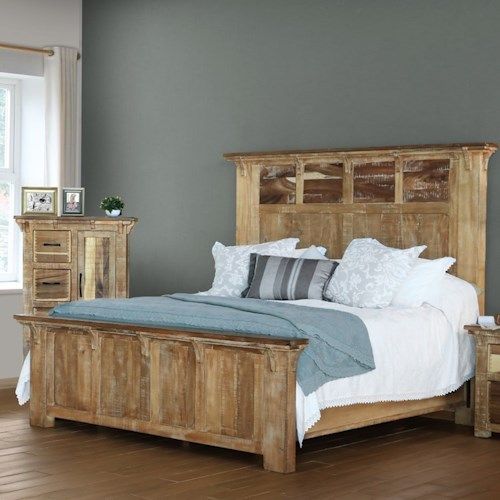 International Furniture Direct Casablanca King Rustic Low Profile Bed