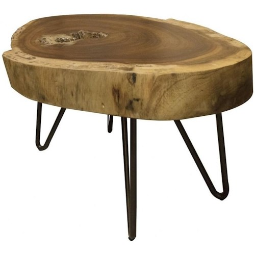 International Furniture Direct Vivo Industrial Live Edge Solid Wood End Table