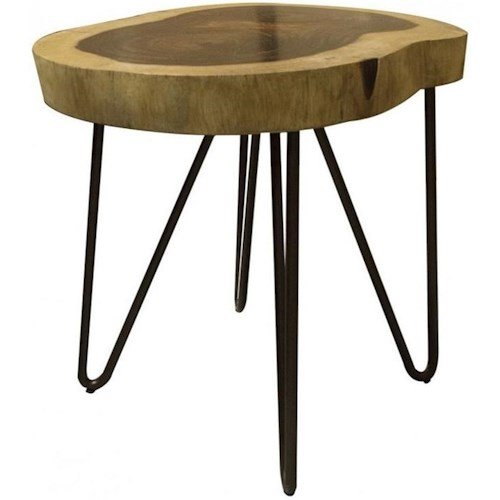 International Furniture Direct Vivo Industrial Live Edge Solid Wood Chair Side Table