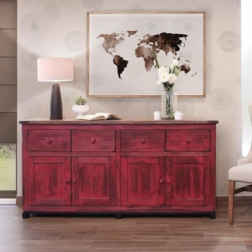 International Furniture Direct Artist Console with Distressed Finish