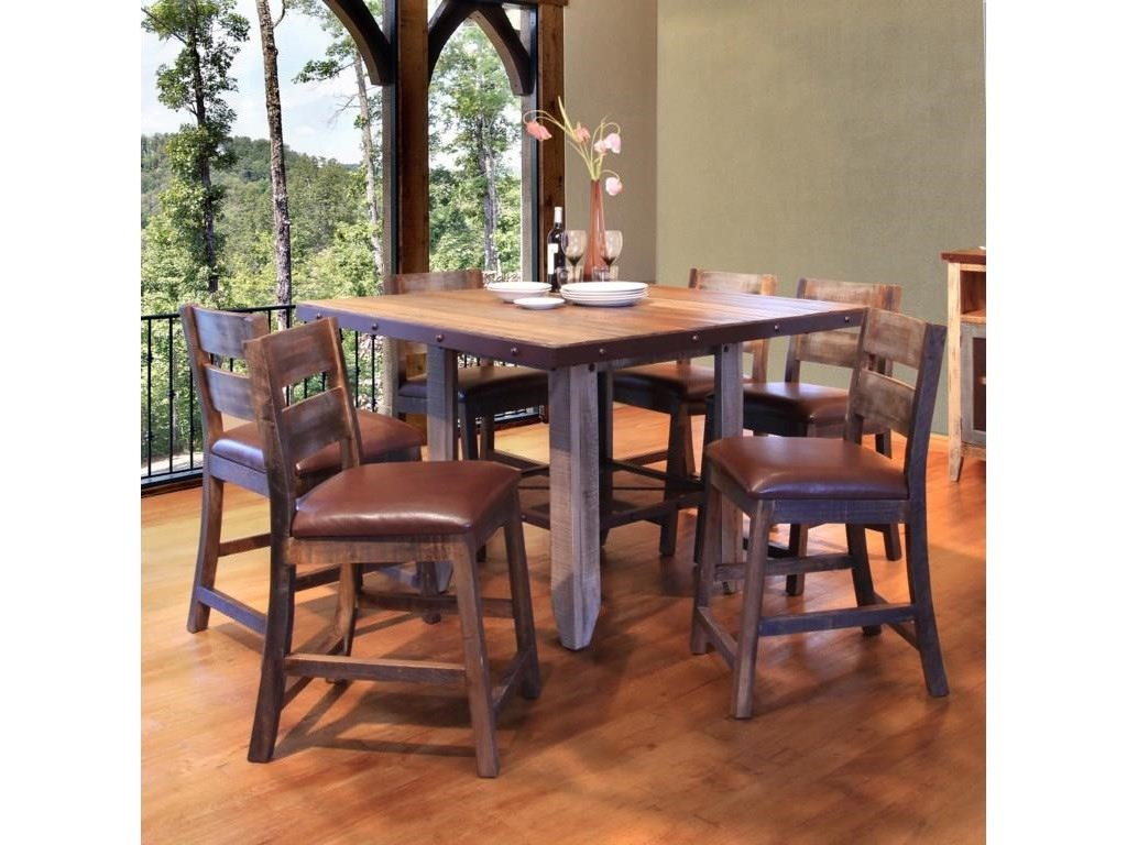 International Furniture Direct 900 AntiqueCounter Height Table and 4 Barstools Set