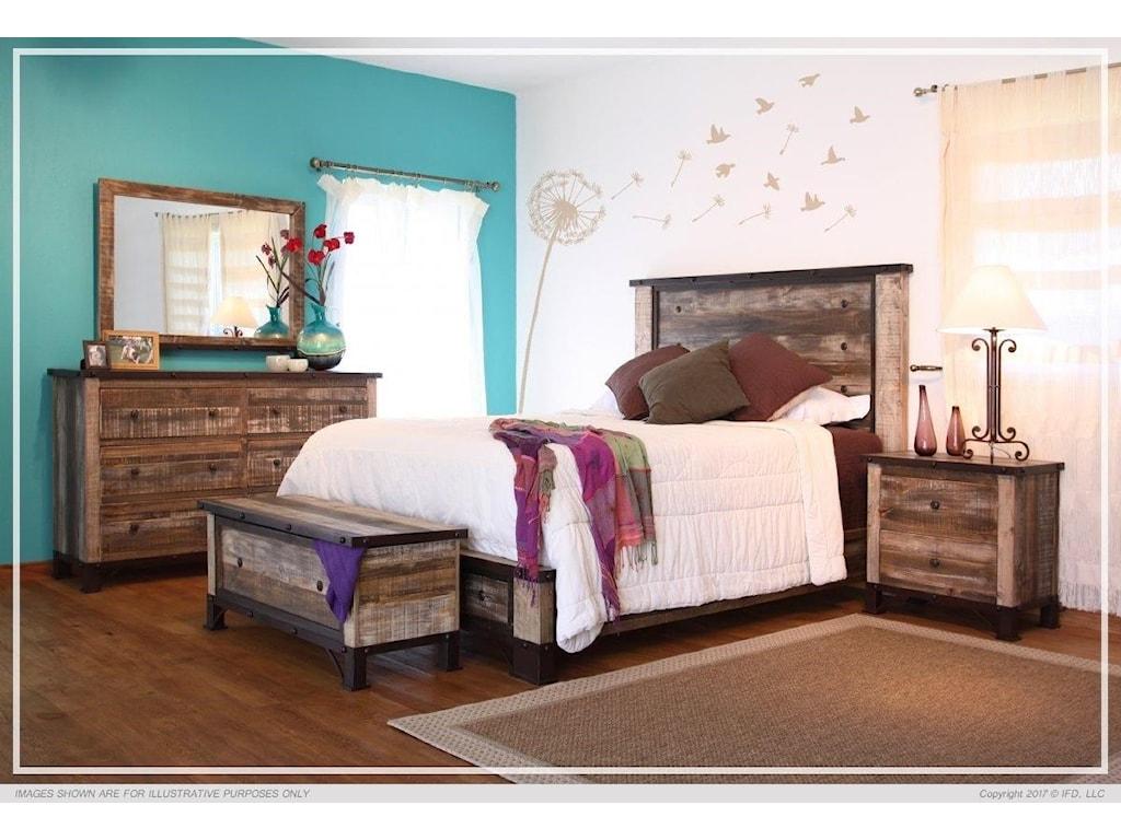 International Furniture Direct 900 AntiqueQueen Platform Bed Package