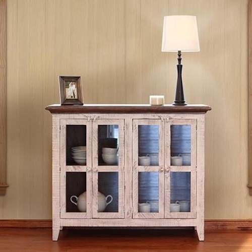 International Furniture Direct 900 Antique Rustic Console with Four Glass Doors