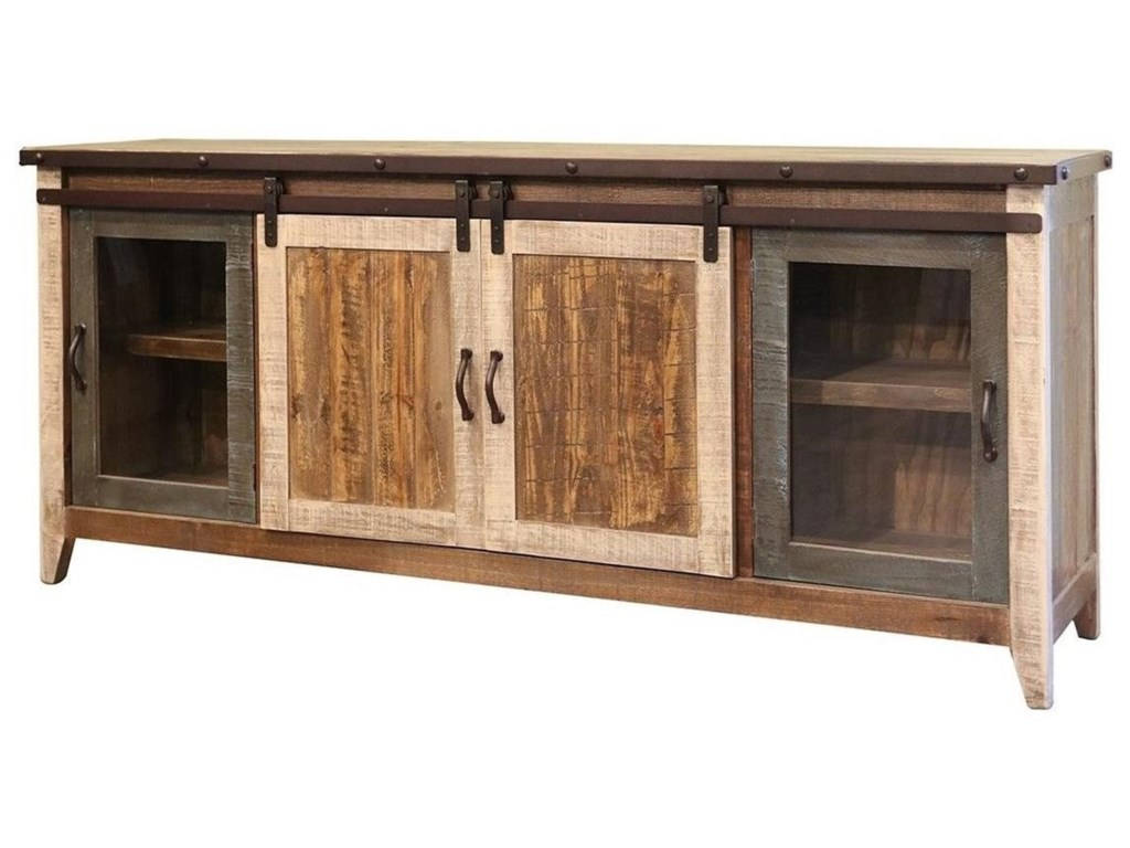 international furniture direct 900 antiquetv stand with sliding doors - Antique Tv Stands