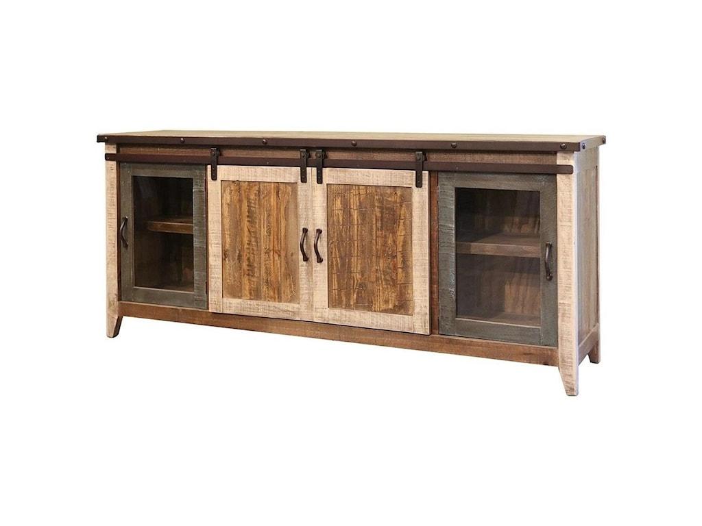 International Furniture Direct 900 AntiqueTV Stand with Sliding Doors
