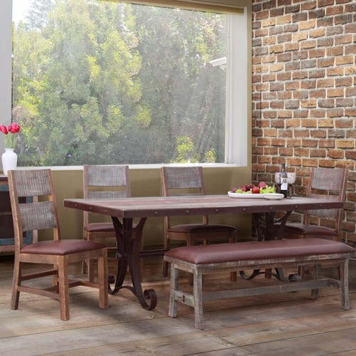 International Furniture Direct 900 Antique 6 Piece Industrial Dining Set with Bench