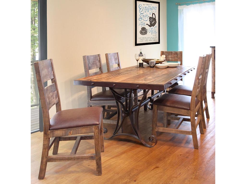 International Furniture Direct 900 Antique7 Piece Dining Set
