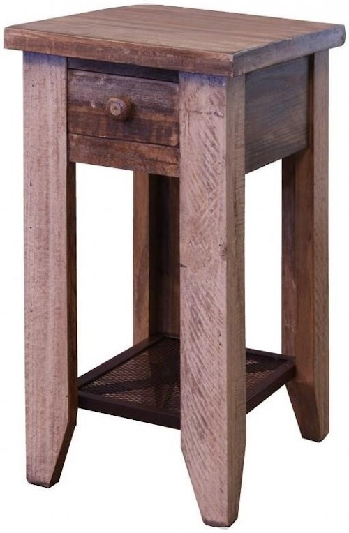 International Furniture Direct 900 Antique Chair Side Table with 1 Drawer and Iron Mesh Shelf