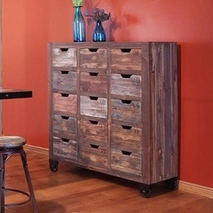 International Furniture Direct 900 Antique15 Drawer Console