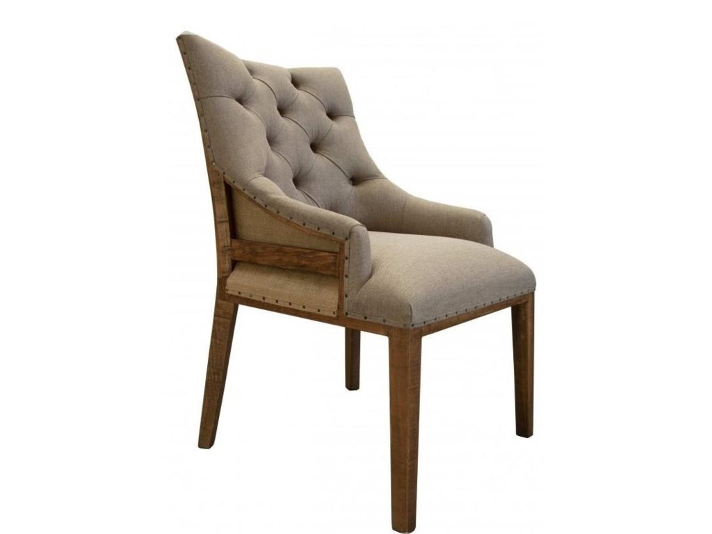 International Furniture Direct 900 AntiqueTufted Chair with Deconstructed Backrest
