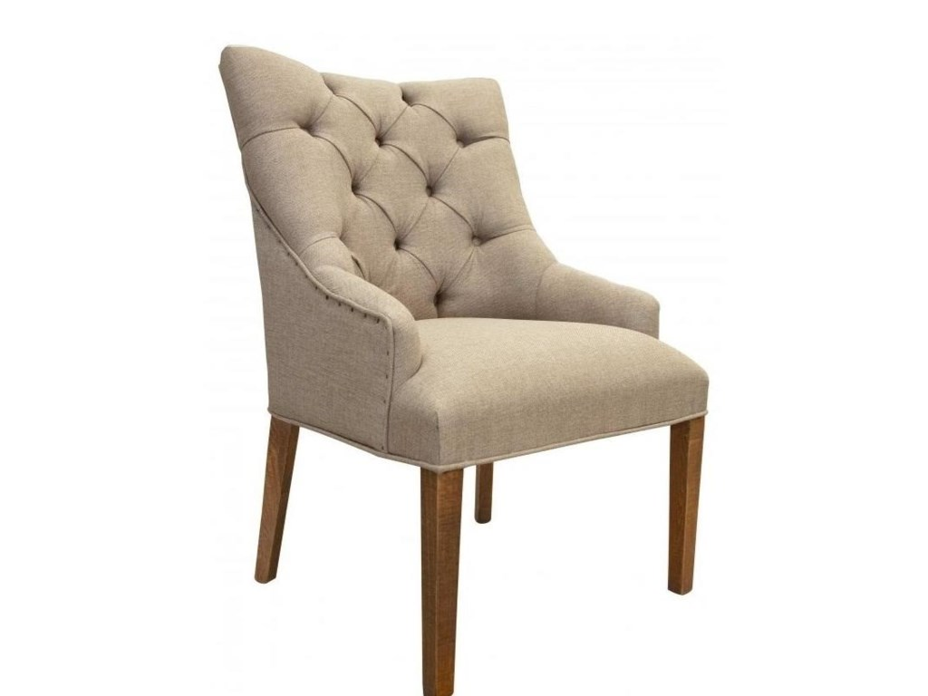 International Furniture Direct 900 AntiqueTufted Chair with Regular Backrest